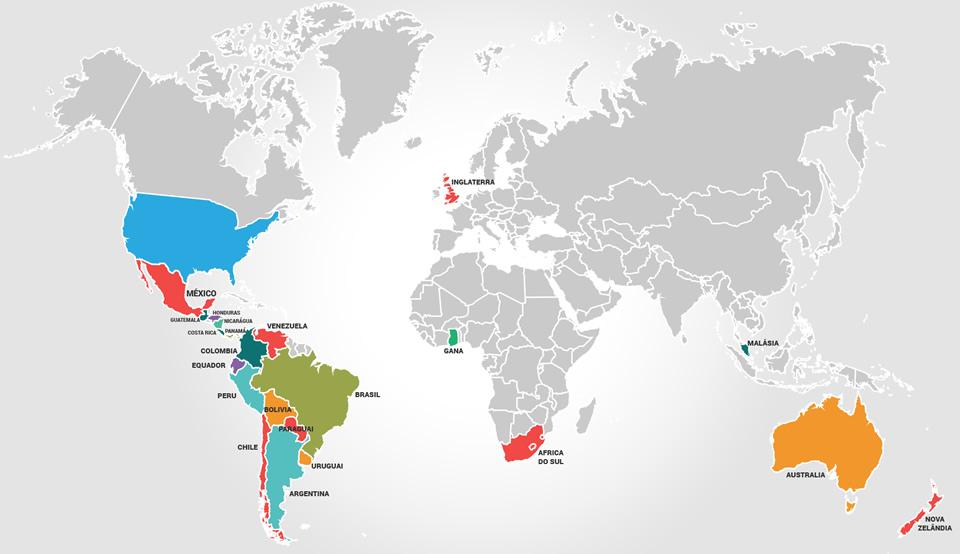 mapa de países em que a flashcover exporta suas capotas marítimas